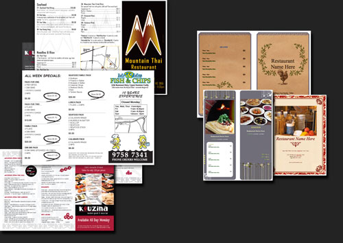 Sample printed menus