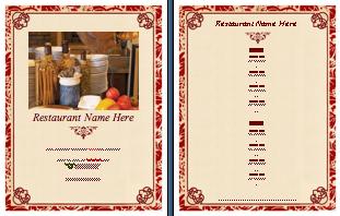 trad menu Menu Printing